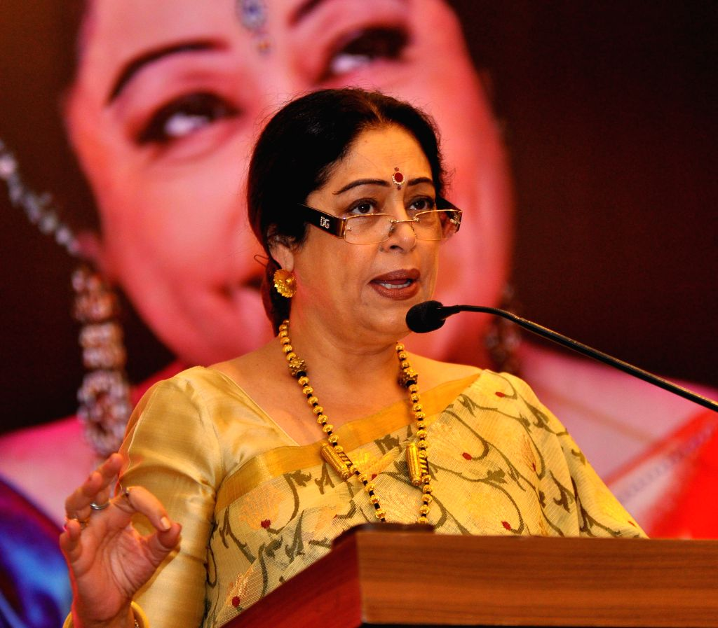 Chandigarh MP and actress Kirron Kher during a seminar on `Management By Women- We are well Empowered` in Jaipur on Sept 1, 2014. - Kirron Kher