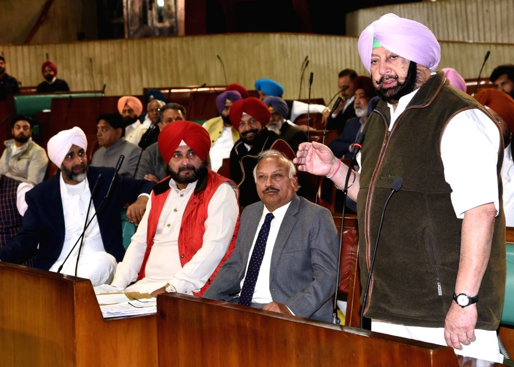 : Chandigarh: Punjab Chief Minister Captain Amarinder Singh addresses at state assembly in Chandigarh on Dec 14, 2018. (Photo: IANS).