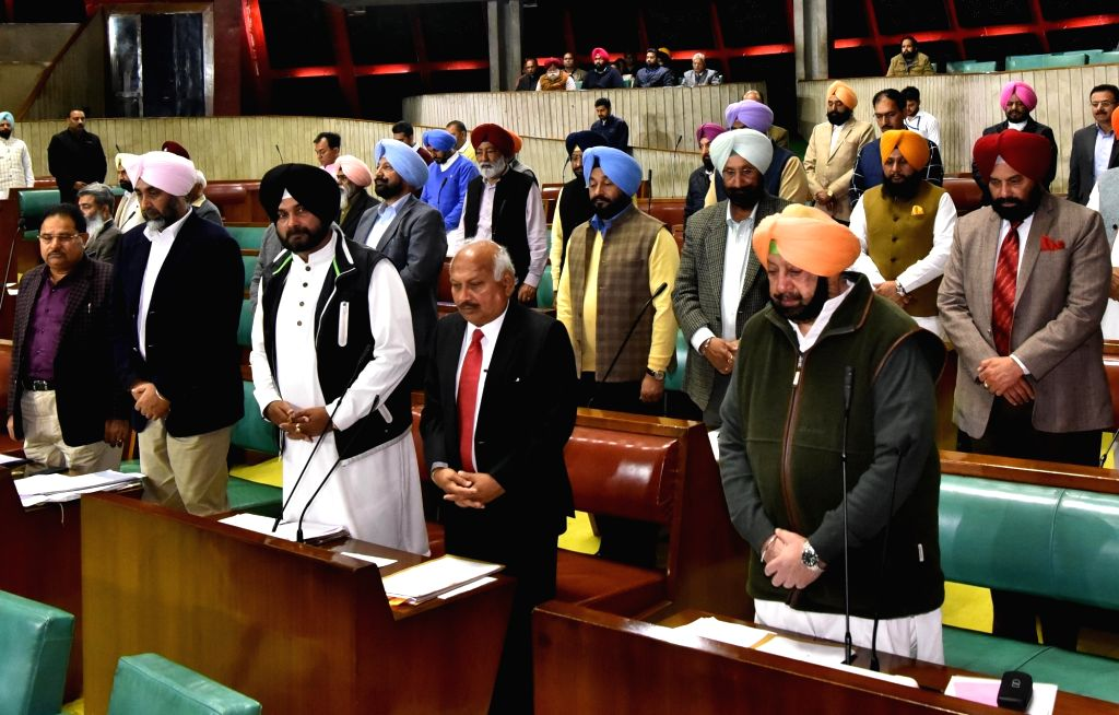 Chandigarh: Punjab Chief Minister Captain Amarinder Singh along with other MLAs observe two-minute silence in the memory of CRPF soldiers killed in Pulwama militant attack, at state legislative assembly in Chandigarh on Feb 15, 2019. (Photo: IANS) - Captain Amarinder Singh