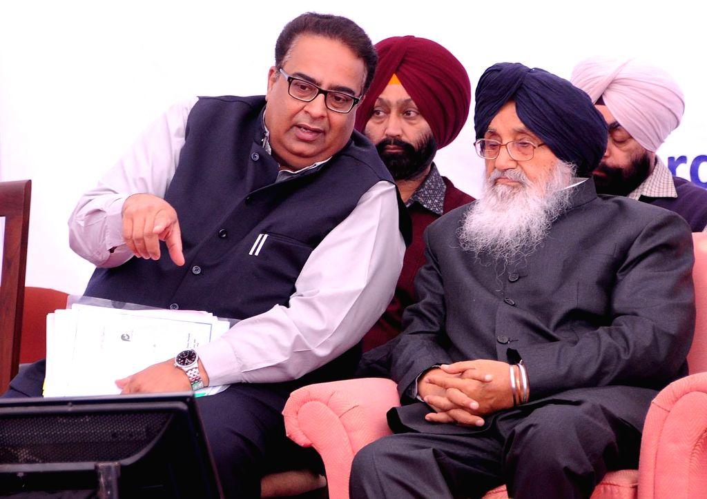 Punjab Chief Minister Parkash Singh Badal at the 'National Workshop on Promotion of Self-employment in Punjab' in Chandigarh on Nov 25, 2014. - Parkash Singh Badal