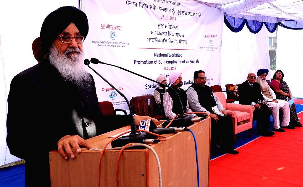 Punjab Chief Minister Parkash Singh Badal addresses at the 'National Workshop on Promotion of Self-employment in Punjab' in Chandigarh on Nov 25, 2014. - Parkash Singh Badal
