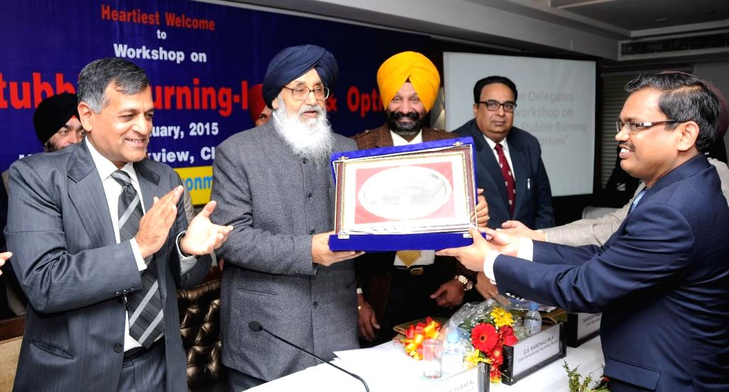 Punjab Chief Minister Parkash Singh Badal during a zonal workshop on 'Agriculture Stubble Burning-Issues and Options' in Chandigarh on Jan 8, 2015. - Parkash Singh Badal