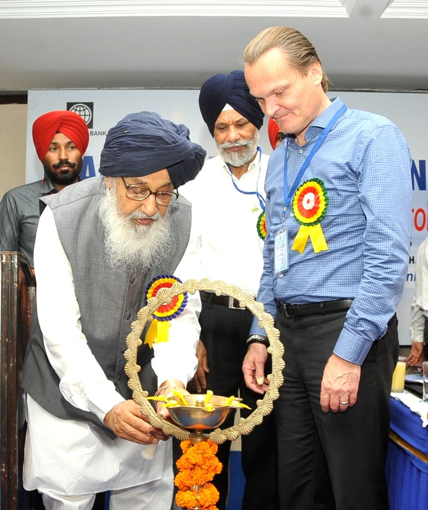 Punjab Chief Minister Parkash Singh Badal at the launch of the second World Bank (WB) funded 'Punjab Rural Water Sanitation Sector Improvement Project' in Chandigarh, on June 17, ... - Parkash Singh Badal