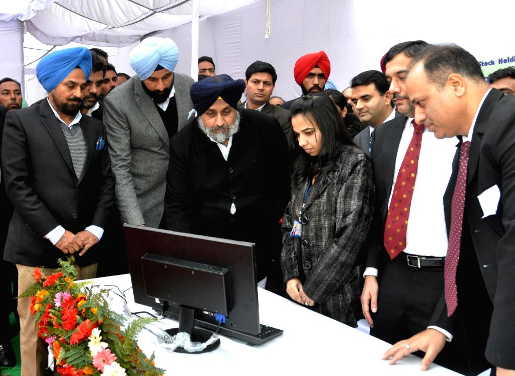 Punjab Deputy Chief Minister Sukhbir Singh Badal and Punjab Minister Bikram Singh Majithia at the launch of  e-stamping facility in the revenue department of the state in Chandigarh, on .. - Sukhbir Singh Badal and Bikram Singh Majithia