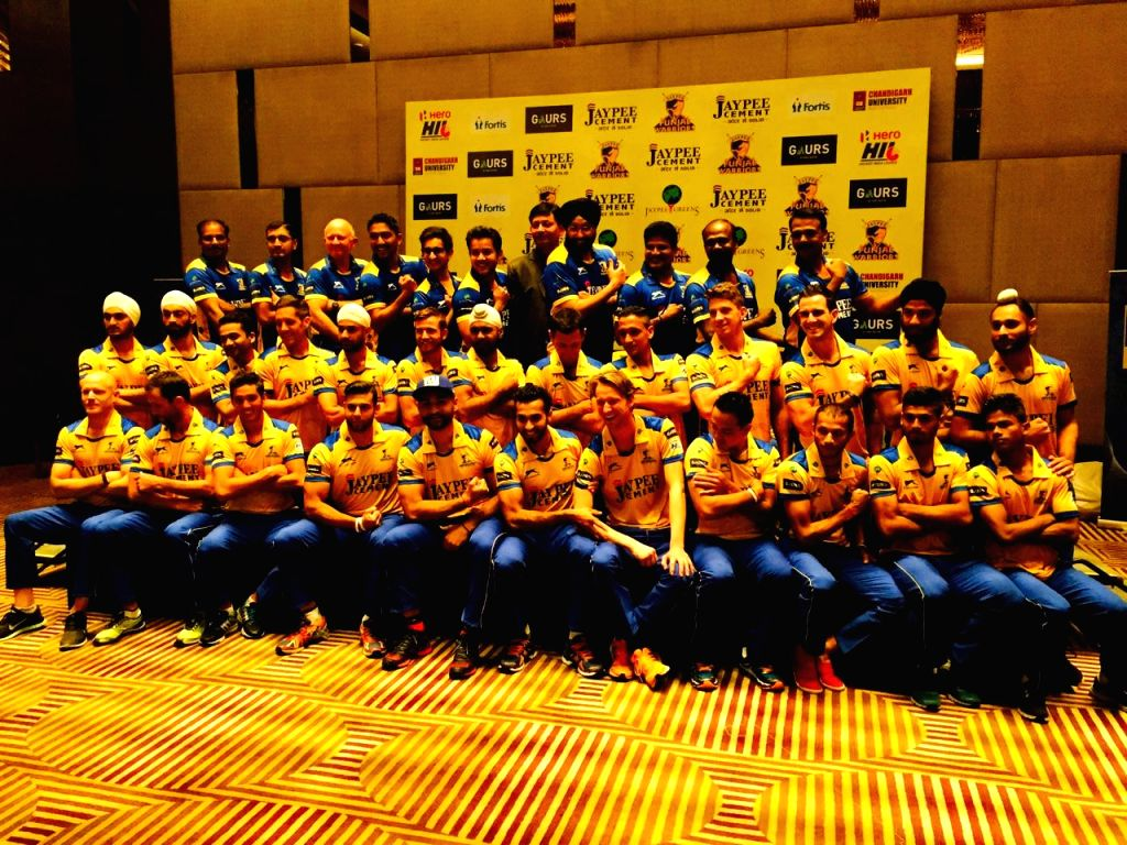 Punjab Warriors in their new jersey for upcoming Hero Hockey India League scheduled to start from 22nd January 2015, in Chandigarh, on Jan 16, 2015.