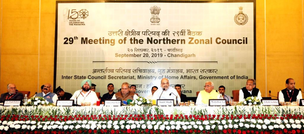 Chandigarh: Union Home Minister Amit Shah presides over the 29th Meeting of the Northern Zonal Council in Chandigarh, on Sep 20, 2019. Also seen Delhi Lieutenant Governor Anil Baijal, Governor of Punjab and Administrator of Chandigarh V.P. Singh Badn - Amit Shah, Malik, P. Singh Badnore, Amarinder Singh and Manohar Lal Khattar