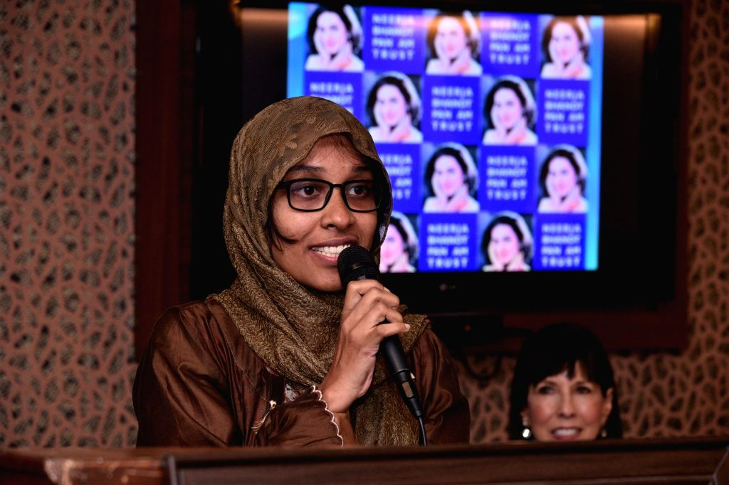 Chandigarh: Young braveheart from Kerala, Sifiya Haneef addresses after she was conferred with Neerja Bhanot Award in Chandigarh on Sep 7, 2019. The Neerja Bhanot Award was instituted in 1990 in memory of Neerja Bhanot, who saved hundreds of lives wh