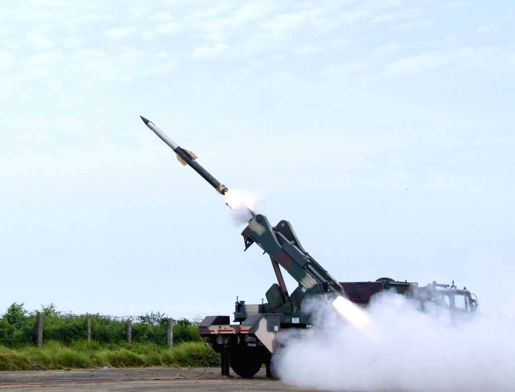 Chandipur: DRDO successfully flight-tests state-of-the-art Quick Reaction Surface-to-Air Missiles against live aerial targets from ITR, in Chandipur, Odisha on Aug 4, 2019. (Photo: IANS/PIB)