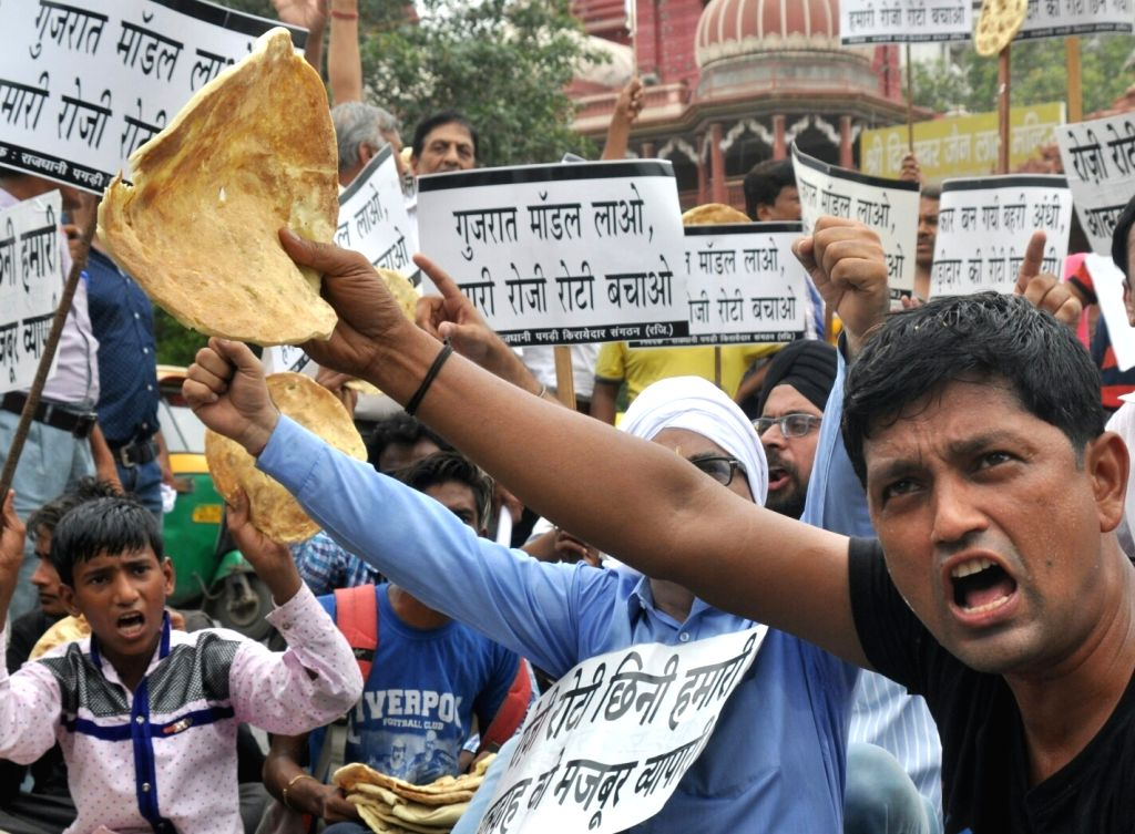 Chandni Chowk shopkeepers stage a demonstration against Delhi Rent Control Act in New Delhi, on July 6, 2017.