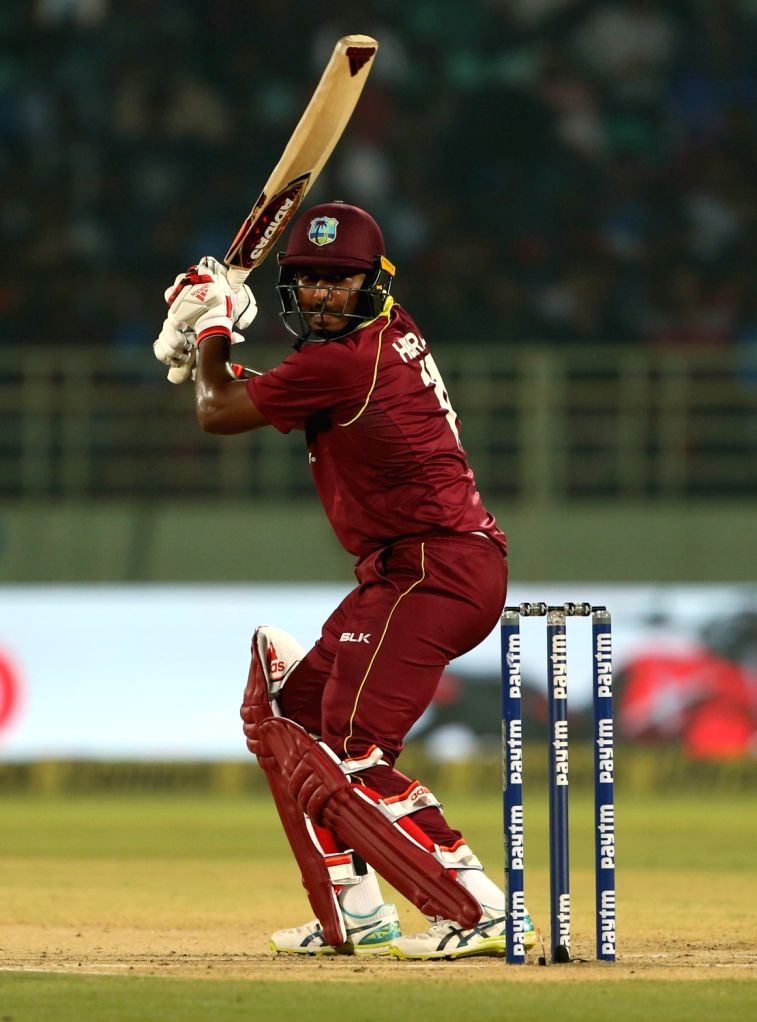 Chandrapaul Hemraj of West Indies in action during the second ODI match between India and West Indies at Dr. Y.S. Rajasekhara Reddy ACA-VDCA Cricket Stadium in Visakhapatnam, on Oct ...