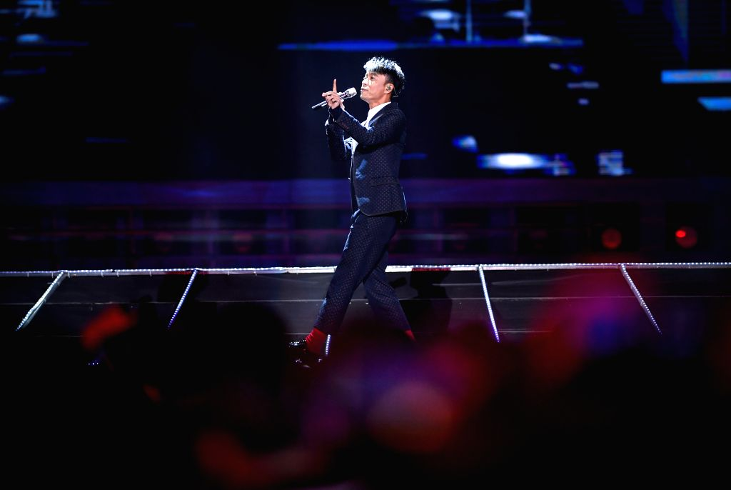 CHANGCHUN, Sept. 8, 2018 - Singer Hacken Lee performs during the closing ceremony of the 14th Changchun Film Festival in Changchun, northeast China's Jilin Province, Sept. 8, 2018.
