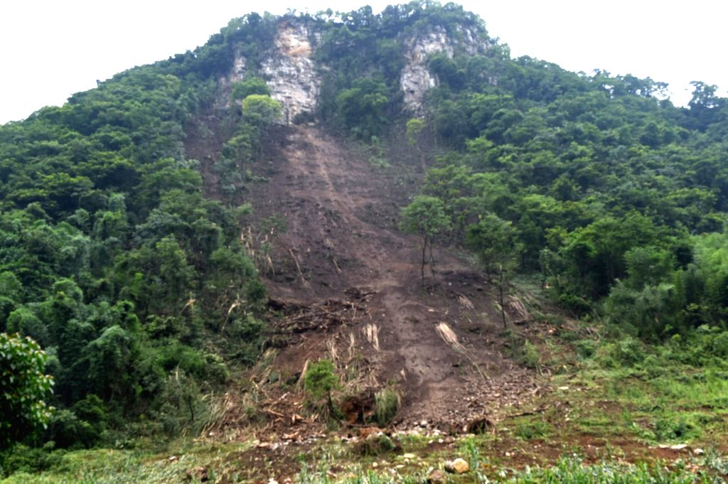 CHANGNING, June 18, 2019 - Photo taken on June 18, 2019 shows a landslide after earthquake at Jinji Village of Shuanghe Town, Changning County of Yibin City, southwest China's Sichuan Province. ...