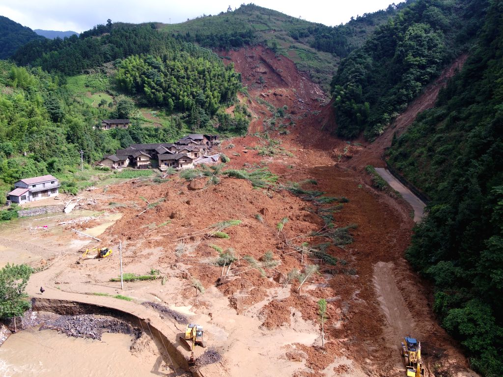 CHANGSHA, July 2, 2017 - Photo taken on July 2, 2017 shows the village damaged by a mudslide in Zuta Village of Ningxiang County, central China's Hunan Province. A mudslide in Zuta Village of ...