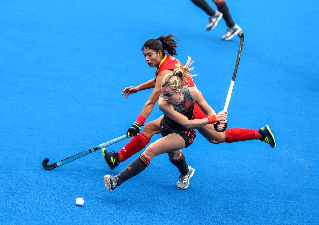 CHANGZHOU, March 3, 2019 - Freeke Moes (Front) of the Netherlands competes during the 2019 FIH PRO LEAGUE women's league hockey match against China in Changzhou, east China's Jiangsu Province, March ...