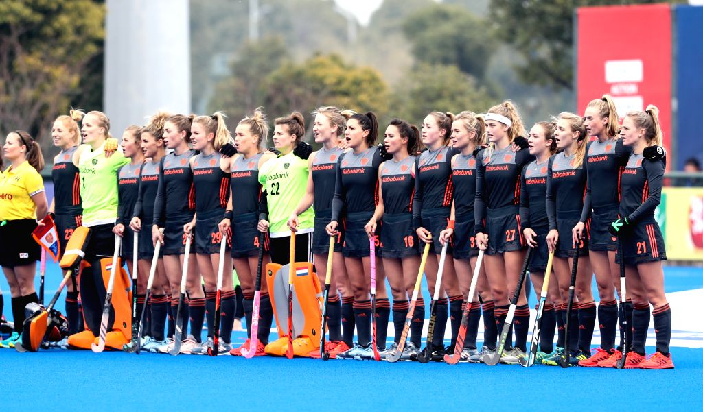 CHANGZHOU, March 3, 2019 - Players of the Netherlands pose before the 2019 FIH PRO LEAGUE women's league hockey match against China in Changzhou, east China's Jiangsu Province, March 3, 2019. The ...