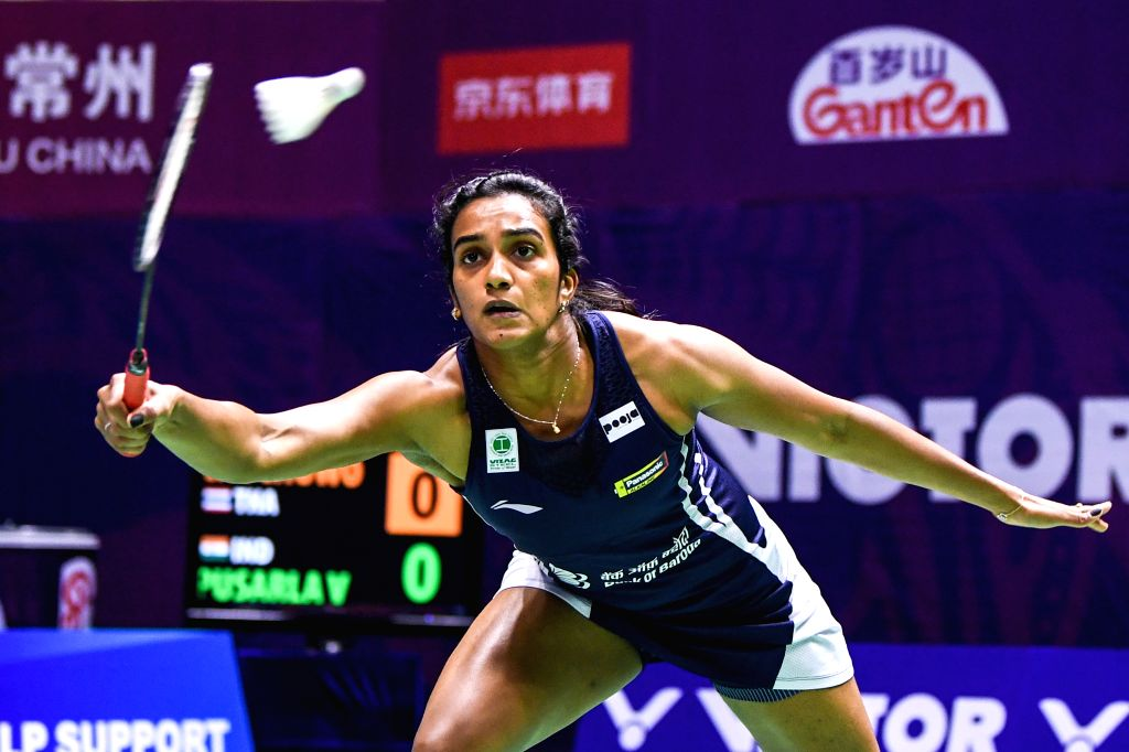 CHANGZHOU, Sept. 19, 2019 (Xinhua) -- India's Pusarla V. Sindhu returns a shuttlecock to Thailand's Pornpawee Chochuwong during the women's singles second round match at China Open 2019 badminton tournament in Changzhou, east China's Jiangsu Province
