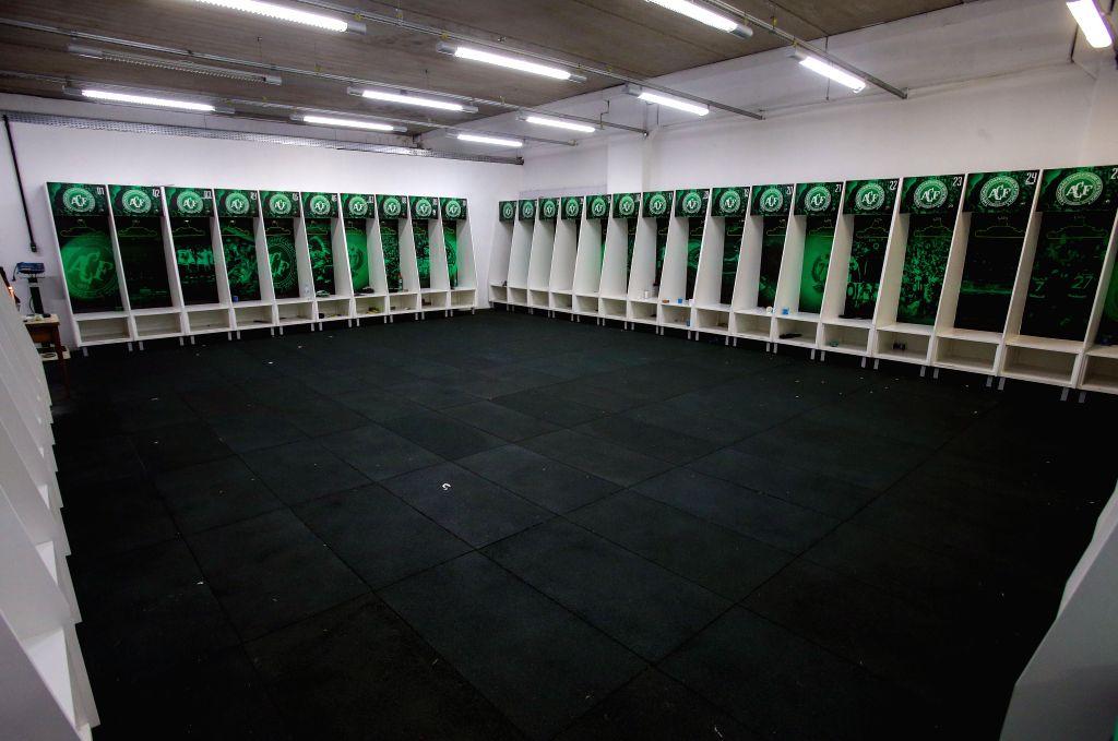 CHAPECO, Nov. 30, 2016 - Photo taken on Nov. 29, 2016 shows the locker room of Brazilian football team Chapecoense at Conda Arena in Chapeco municipality, Santa Catarina state, Brazil. Colombian ...