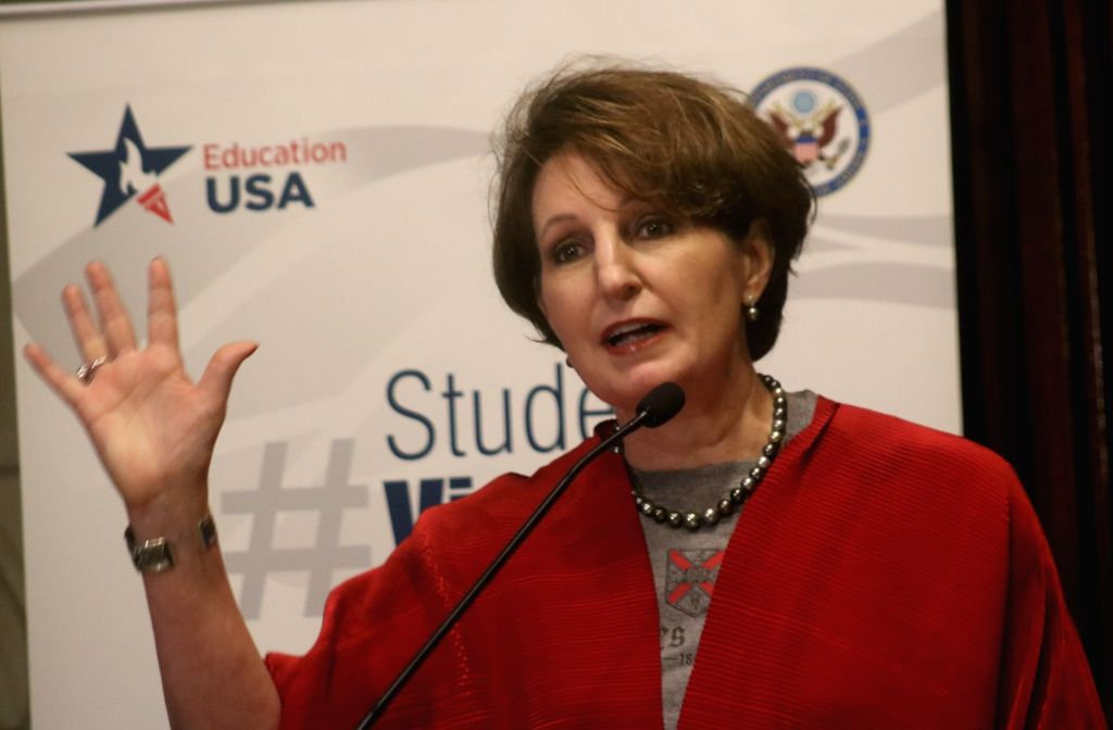 Charge d'Affaires of the US Embassy in New Delhi, MaryKay Carlson addresses during a programme organised on Student Visa Day in New Delhi on June 6, 2018.