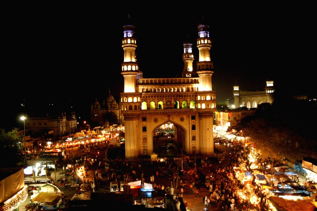 Charminar and the historic Makkah Masjid bustled with people shopping during Ramadan in Hyderabad.