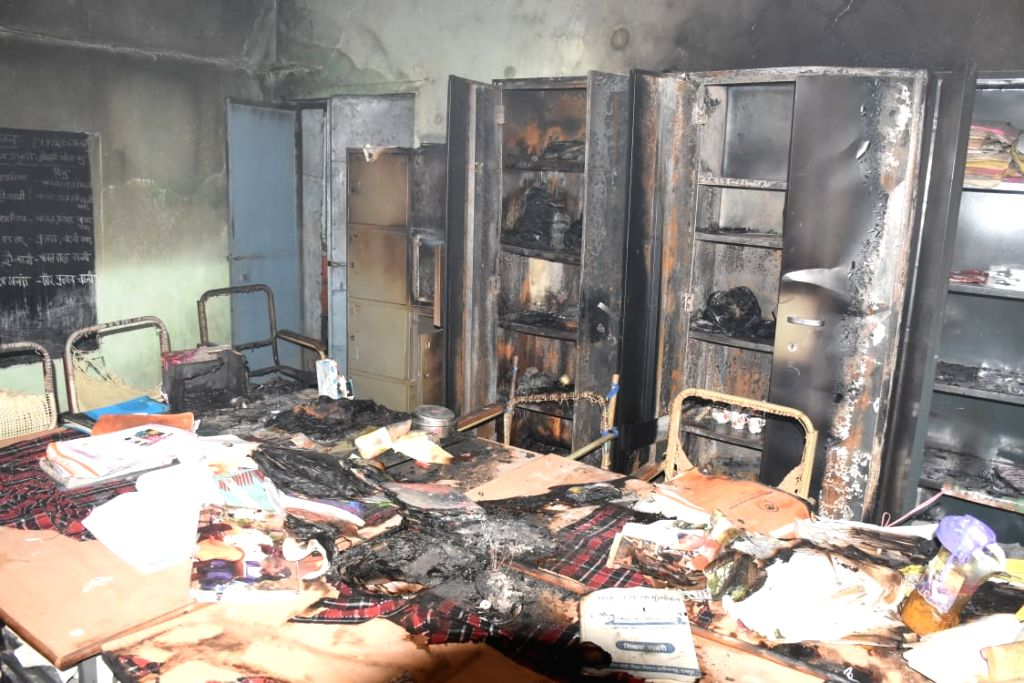 Charred remains of academic material at a school where a fire broke out at Santoshi Nagar area of Raipur on Aug 9, 2019.