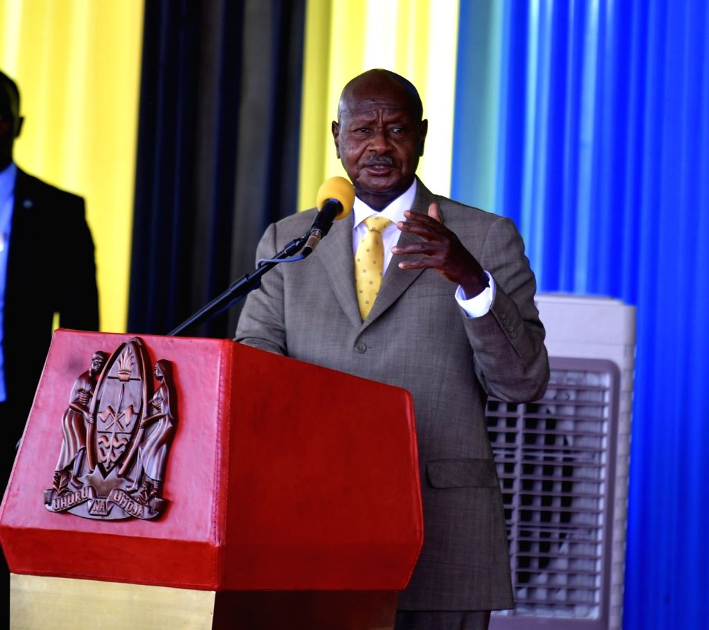 Chato (Tanzania), Sept. 13, 2020 Ugandan President Yoweri Museveni delivers a speech at the agreement signing ceremony in Chato, Tanzania, on Sept. 13, 2020. Tanzanian President John ...
