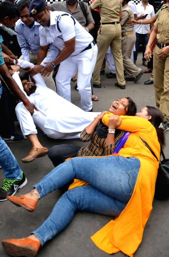 Chatra Parishad - students wing of Congress stage a demonstration against the central and the state governments in Kolkata on Aug 3, 2018.