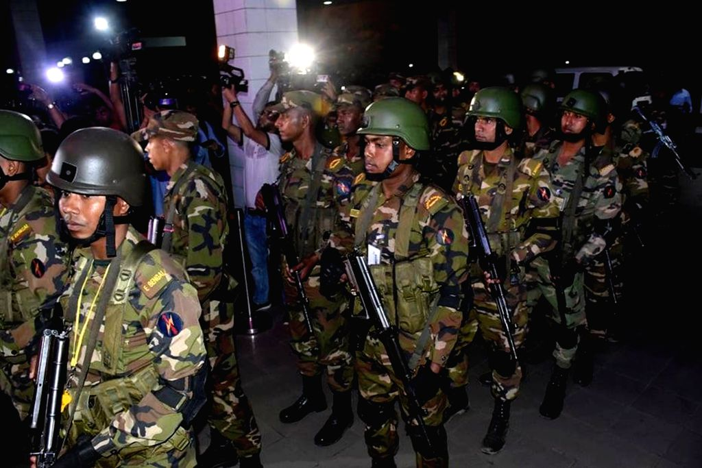 CHATTOGRAM (BANGLADESH), Feb. 24, 2019 Bangladeshi commandos stand guard at the Shah Amanat International Airport in Chattogram, Bangladesh, on Feb. 24, 2019. Bangladeshi commandos ...