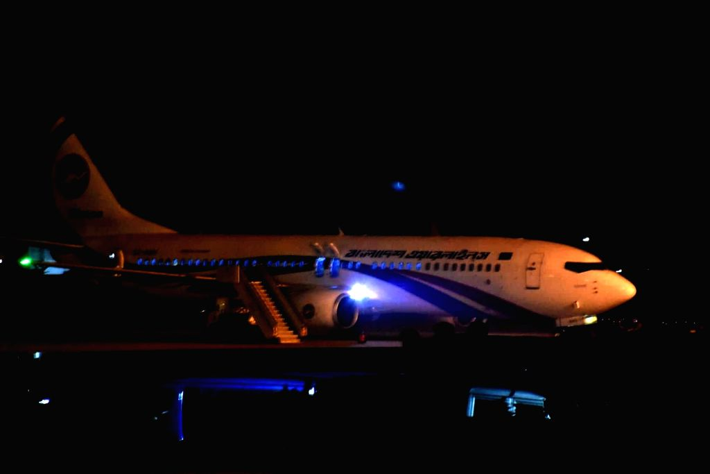 CHATTOGRAM (BANGLADESH), Feb. 24, 2019 Photo taken on Feb. 24, 2019 shows a passenger plane of the Biman Bangladesh Airlines that made an emergency landing after a hijack attempt at the ...