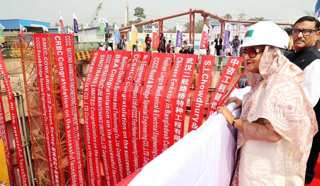 CHATTOGRAM, Feb. 24, 2019 - Bangladeshi Prime Minister Sheikh Hasina views the China-funded mega-river tunnel project in Chattogram, Bangladesh, Feb. 24, 2019. The mining work of a China-funded ... - Sheikh Hasina