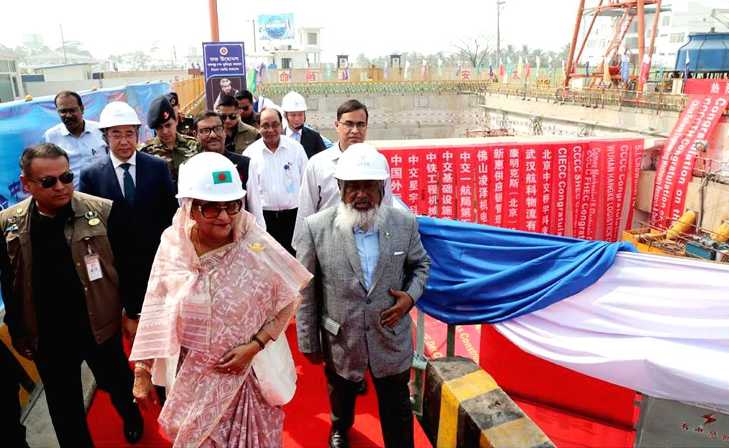 CHATTOGRAM, Feb. 24, 2019 - Bangladeshi Prime Minister Sheikh Hasina (C, front) views the China-funded mega-river tunnel project in Chattogram, Bangladesh, Feb. 24, 2019. The mining work of a ... - Sheikh Hasina