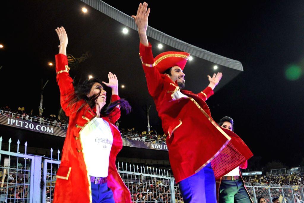 Cheer leaders perform during an IPL 2018 match between Kolkata Knight Riders and Royal Challengers Bangalore at Eden Gardens in Kolkata on April 8, 2018.
