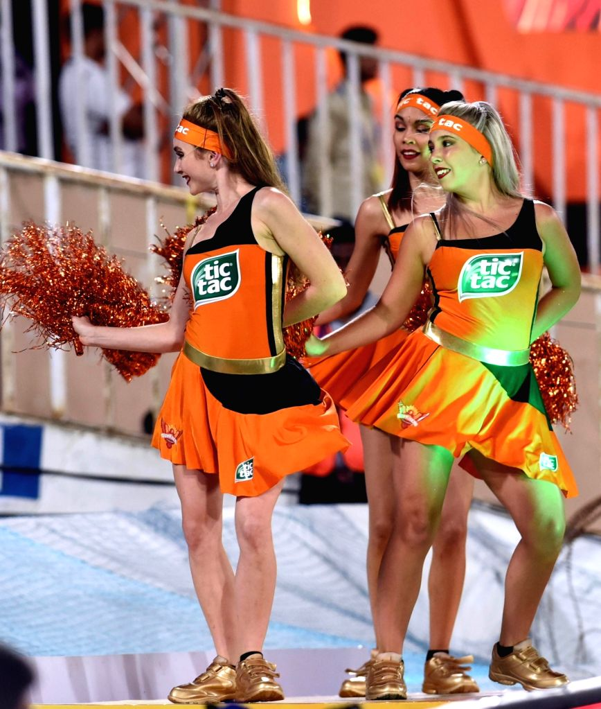 Cheerleaders during an IPL 2018 match between Sunrisers Hyderabad and Mumbai Indians at Rajiv Gandhi International Cricket Stadium in Hyderabad on April 12, 2018.