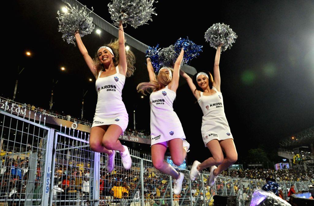 Cheerleaders during the 26th match of IPL 2019 between Kolkata Knight Riders and Delhi Capitals at Eden Gardens in Kolkata on April 12, 2019.
