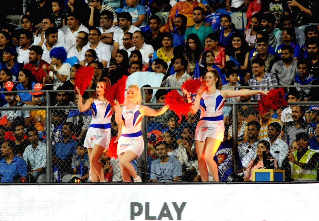 Cheerleaders perform during an IPL 2017 match between Mumbai Indians and Delhi Daredevils at Wankhede Stadium in Mumbai on April 22, 2017.