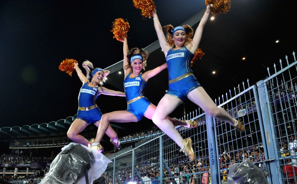 Cheerleaders perform during an IPL 2017 match between Kolkata Knight Riders and Mumbai Indians at Eden Gardens in Kolkata, on May 13, 2017.