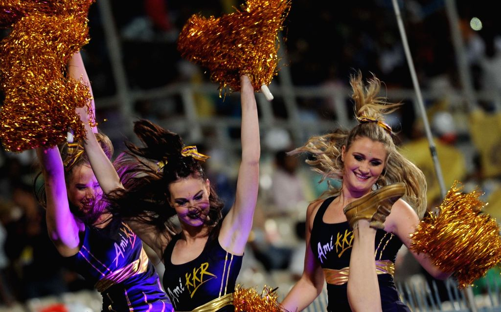 Cheerleaders perform during an IPL match between Kolkata Knight Riders and Mumbai Indians at the Eden Gardens in Kolkata, on April 13, 2016.