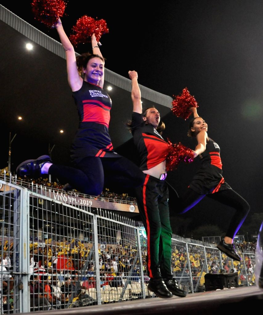 Cheerleaders perform during the 35th match of IPL 2019 between Kolkata Knight Riders and Royal Challengers Bangalore at Eden Gardens in Kolkata on April 19, 2019.
