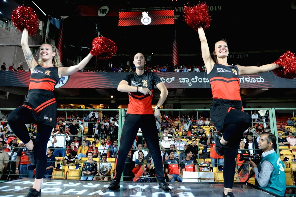 Cheerleaders perform during the 42nd match of IPL 2019 between Royal Challengers Bangalore and Kings XI Punjab at M.Chinnaswamy Stadium in Bengaluru, on April 24, 2019.