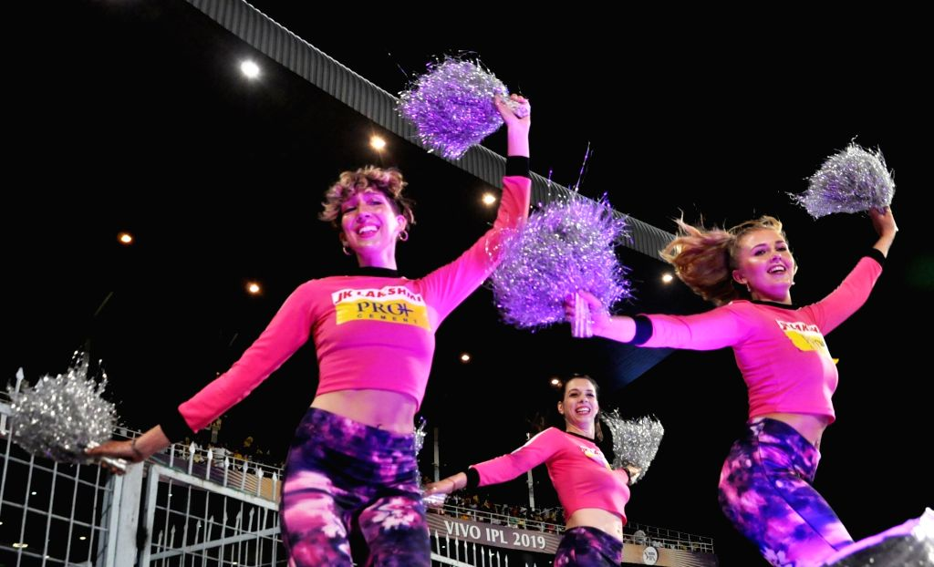 Cheerleaders perform during the 43rd match of IPL 2019 between Kolkata Knight Riders and Rajasthan Royals at Eden Gardens in Kolkata, on April 25, 2019.