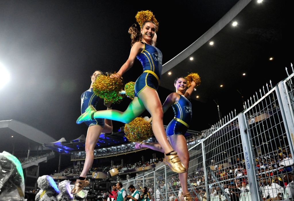 Cheerleaders perform during the 47th match of IPL 2019 between Kolkata Knight Riders and Mumbai Indians at Eden Gardens in Kolkata, on April 28, 2019.