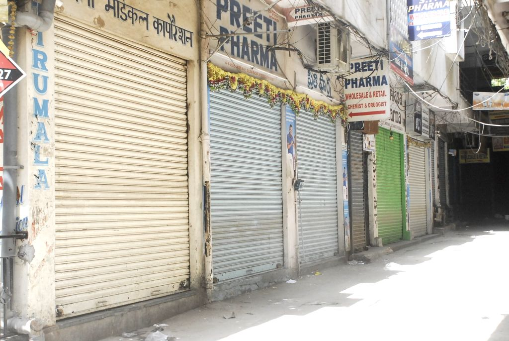 Chemist shops remain closed during a day long strike called to protest against stringent regulations on the sale of medicines, in Hyderabad, on May 30, 2017.