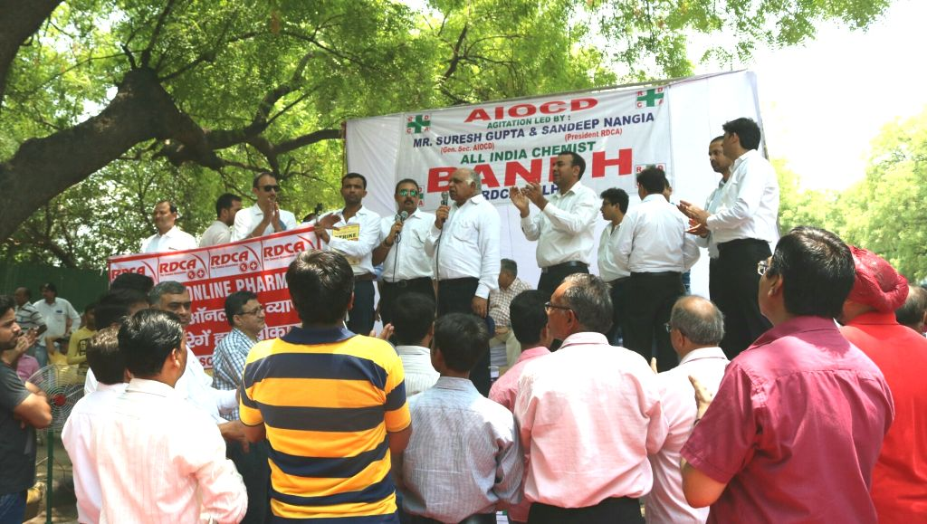 Chemists stage a demonstration during a day long strike called to protest against stringent regulations on the sale of medicines at Jantar Mantar in New Delhi, on May 30, 2017.
