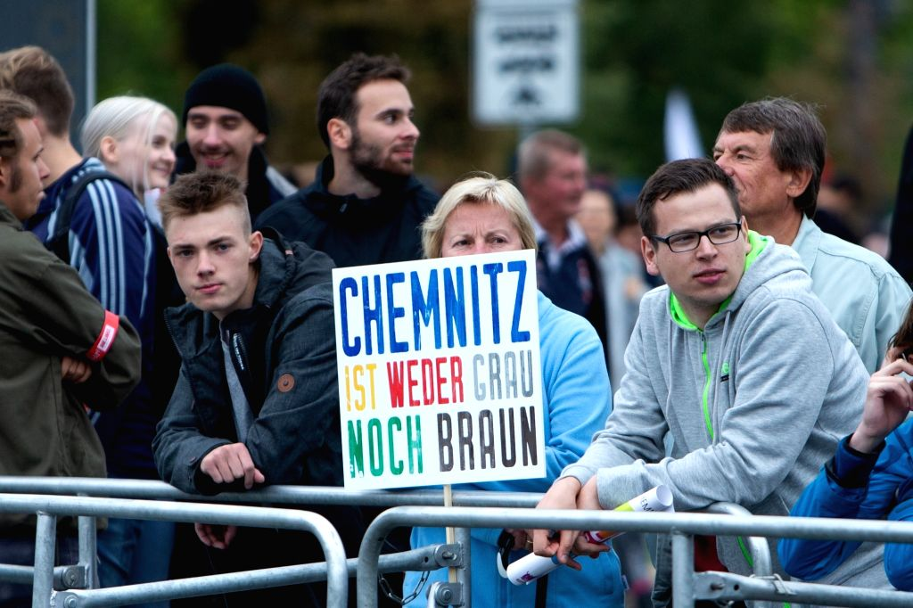 CHEMNITZ, Sept. 2, 2018 - Anti-far-right protesters attend a demonstration in Chemnitz, eastern Germany, on Sept. 1, 2018. Around 8,000 people took to the streets in German city Chemnitz on Saturday, ...