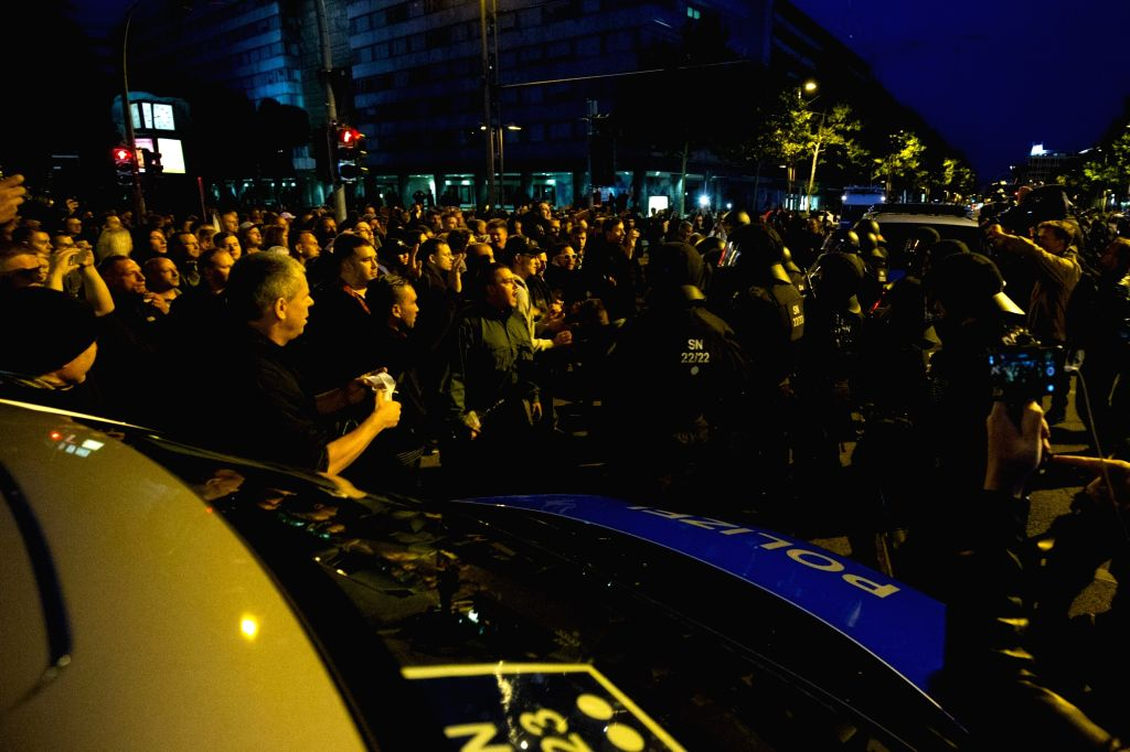 CHEMNITZ, Sept. 2, 2018 - Far-right protesters confront policemen during a demonstration in Chemnitz, eastern Germany, on Sept. 1, 2018. Around 8,000 people took to the streets in German city ...