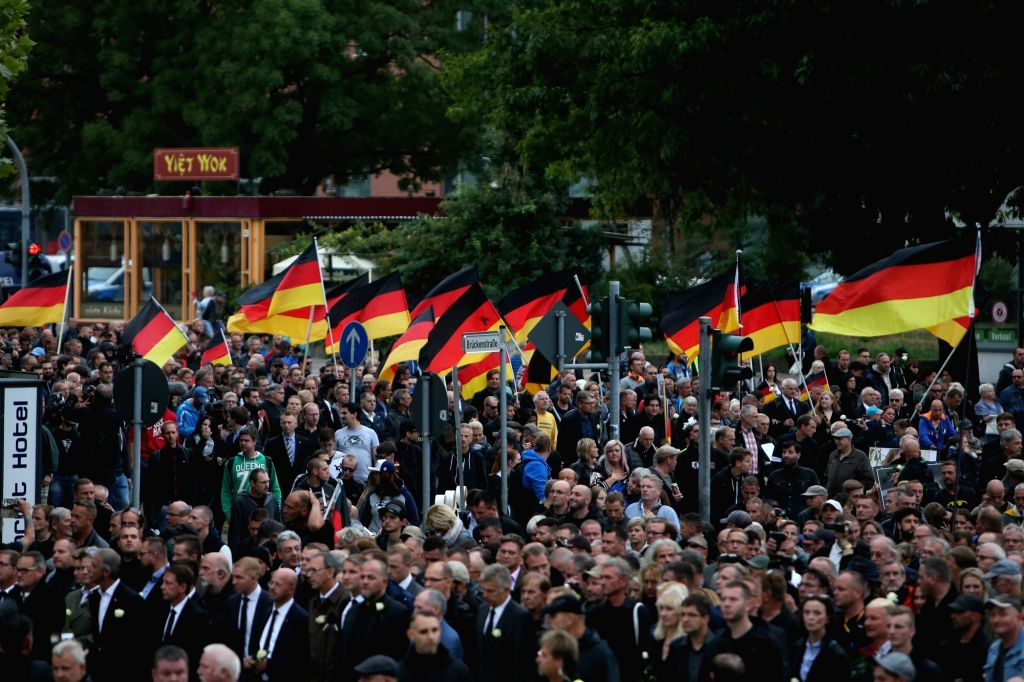 CHEMNITZ, Sept. 2, 2018 - Far-right protesters attend demonstration in Chemnitz, eastern Germany, on Sept. 1, 2018. Around 8,000 people took to the streets in German city Chemnitz on Saturday, ...