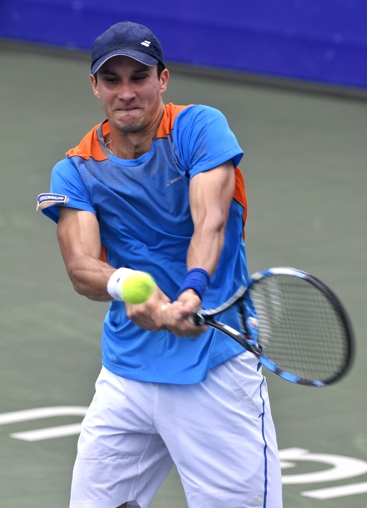 CHENGDU, Aug. 04, 2017 - Evgeny Donskoy of Russia competes during the men's singles match against Gao Xin of China at the 2017 International Challenger Chengdu in Chengdu, capital of southwest ...