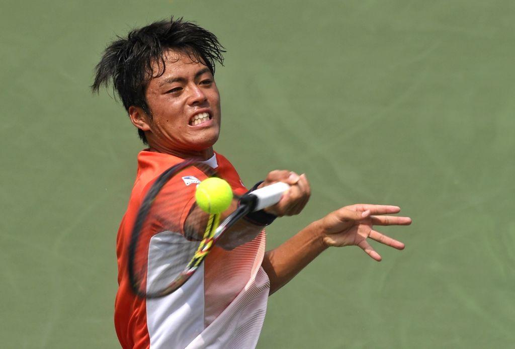 CHENGDU, Aug. 04, 2017 - Yusuke Takahashi of Japan competes during the men's singles quarterfinal match against Wu Yibing of China at the 2017 International Challenger Chengdu in Chengdu, capital of ...