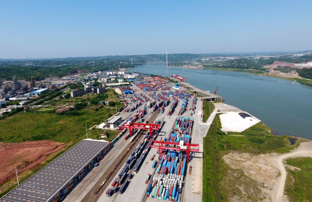 CHENGDU, Aug. 15, 2019 - Photo taken on May 17, 2017 shows Luzhou port of China (Sichuan) pilot free trade zone in southwest China's Sichuan Province. China has released an overall plan about the ...