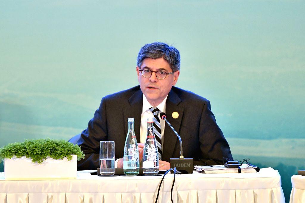 CHENGDU, July 23, 2016 - U.S. Treasury Secretary Jacob Lew speaks at the G20 High-Level Tax Symposium in Chengdu, capital of southwest China's Sichuan Province, July 23, 2016. The Symposium marks the ...
