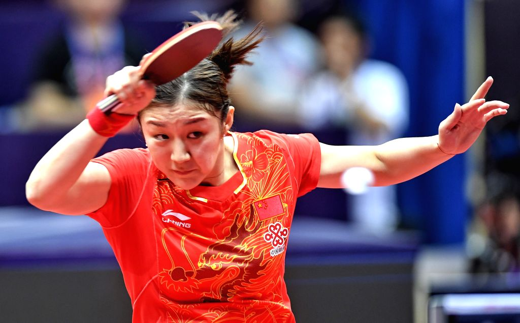 CHENGDU, June 24, 2017 - Chen Meng of China returns the ball during the women's singles quarterfinal against Zhu Yuling of China at the ITTF China Open Table Tennis tournament in Chengdu, capital of ...